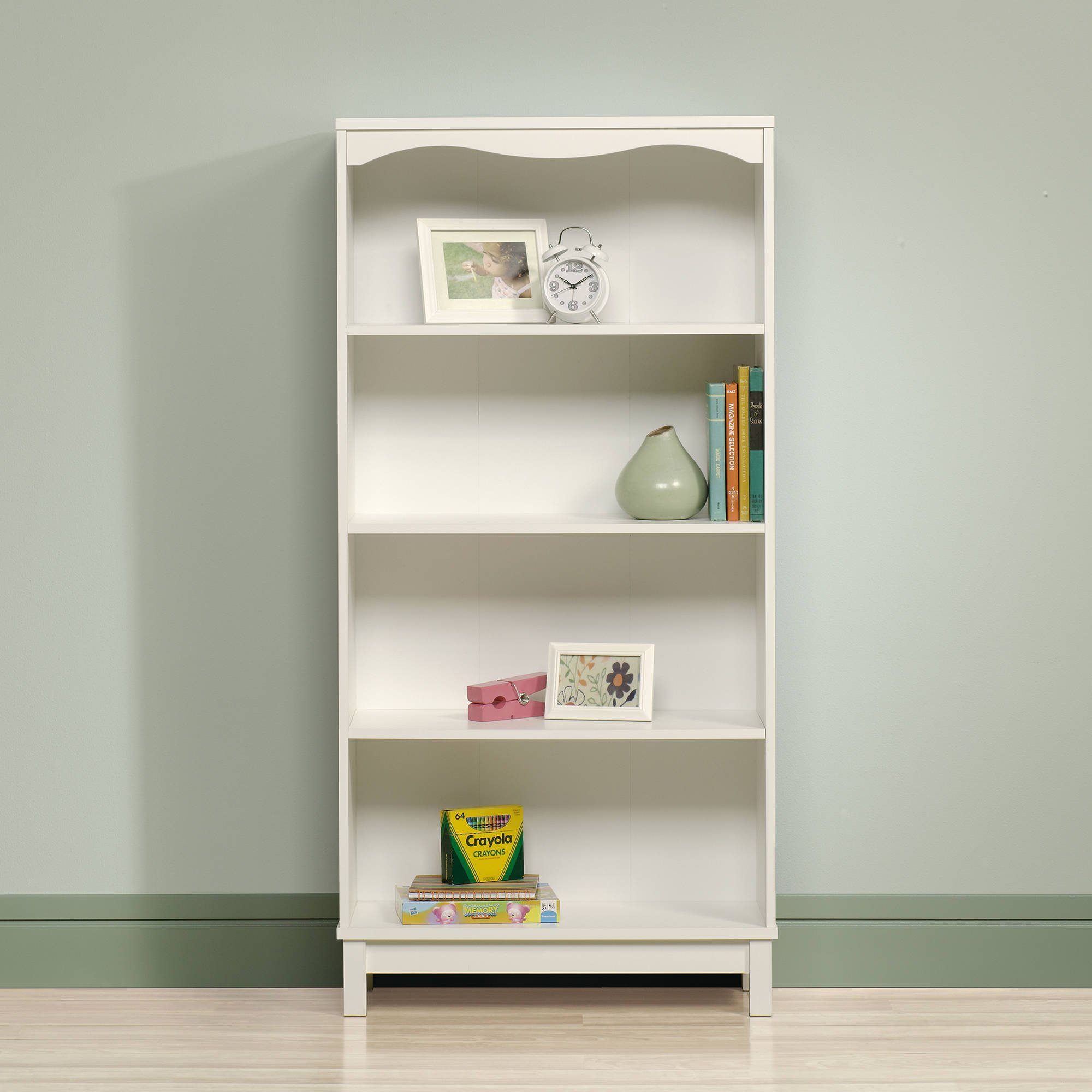 Home Indoor Furniture Sauder Storybook Bookcase Storage Soft White Finish Book Kids Rack Toy Reading Sling Organizer Books, Soft White with dimensions: 29.134'' W x 11.654''D x 59.764''H by SAU