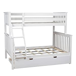 Max & Lily Solid Wood Twin over Full Bunk Bed with Trundle Bed