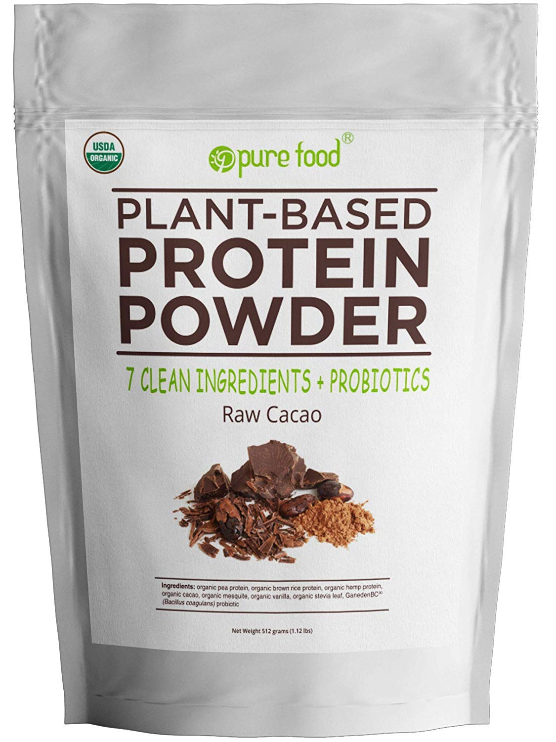 Pure Food: Plant Based Protein Powder with Probiotics   Organic, Clean, All Natural, Vegan, Vegetarian, Whole Superfood Nutritional Supplement With No Additives   Raw Cacao (Chocolate), 512 Gram Pouch