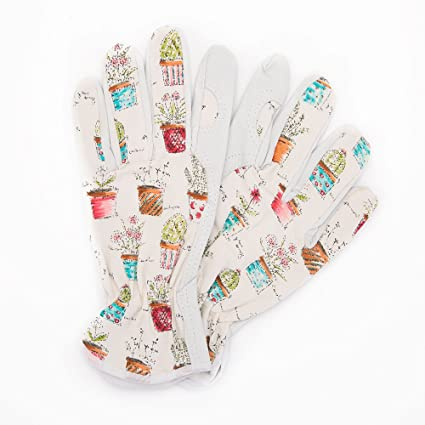 Worth Cute Canvas U0026 Leather Protective Gardening Gloves | Cheerful Bonsai  Print Design For Women By