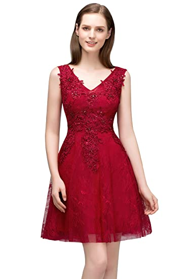 Misshow Juniors Midi Masquerade Ball Gown Lace Appliques Semi Formal Dress (Burgundy, 6)