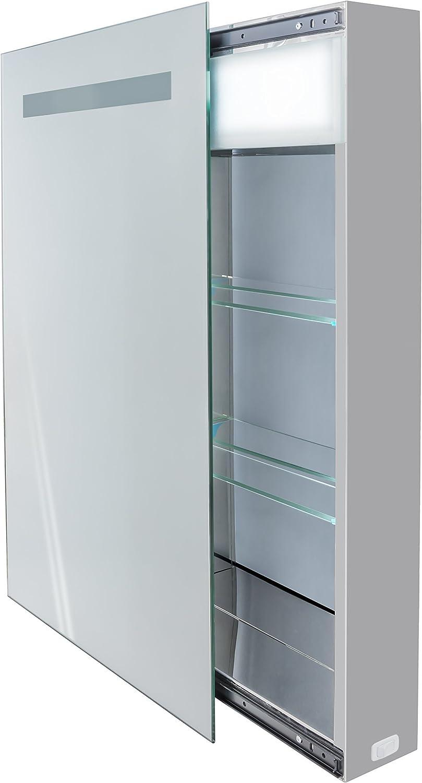 krugg kinet1830led medicamento armario espejo deslizante (incluye toma de corriente Plus 2 estantes de vidrio: Amazon.es: Bricolaje y herramientas