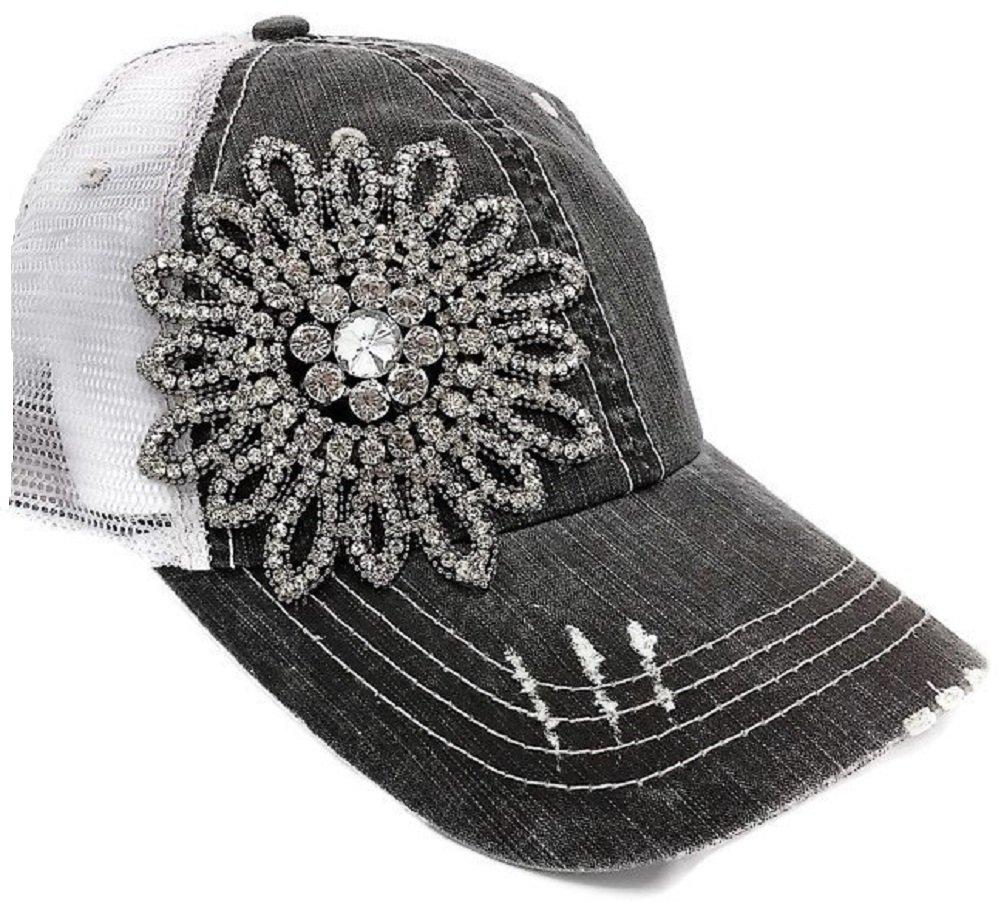Olive & Pique Women's Stitch Rhinestone Flower Trucker Cap (One Size, Charcoal)
