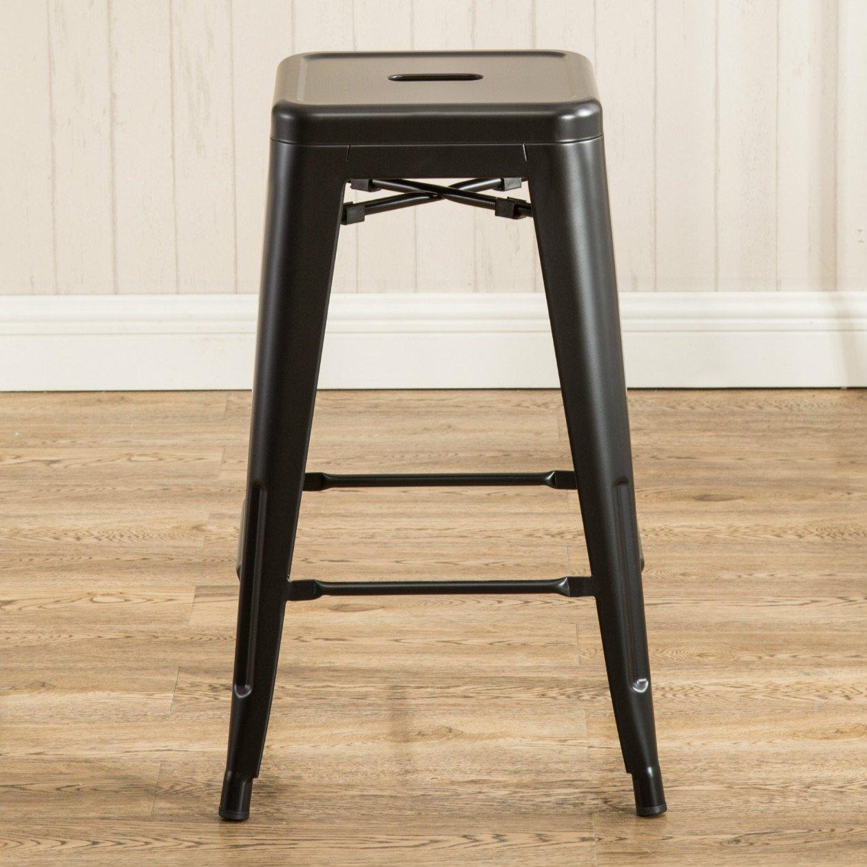 Wondrous 26 Inch Backless Metal Counter Height Bar Stools Set Of 2 Vintage Tolix Chairs Matt Black Evergreenethics Interior Chair Design Evergreenethicsorg