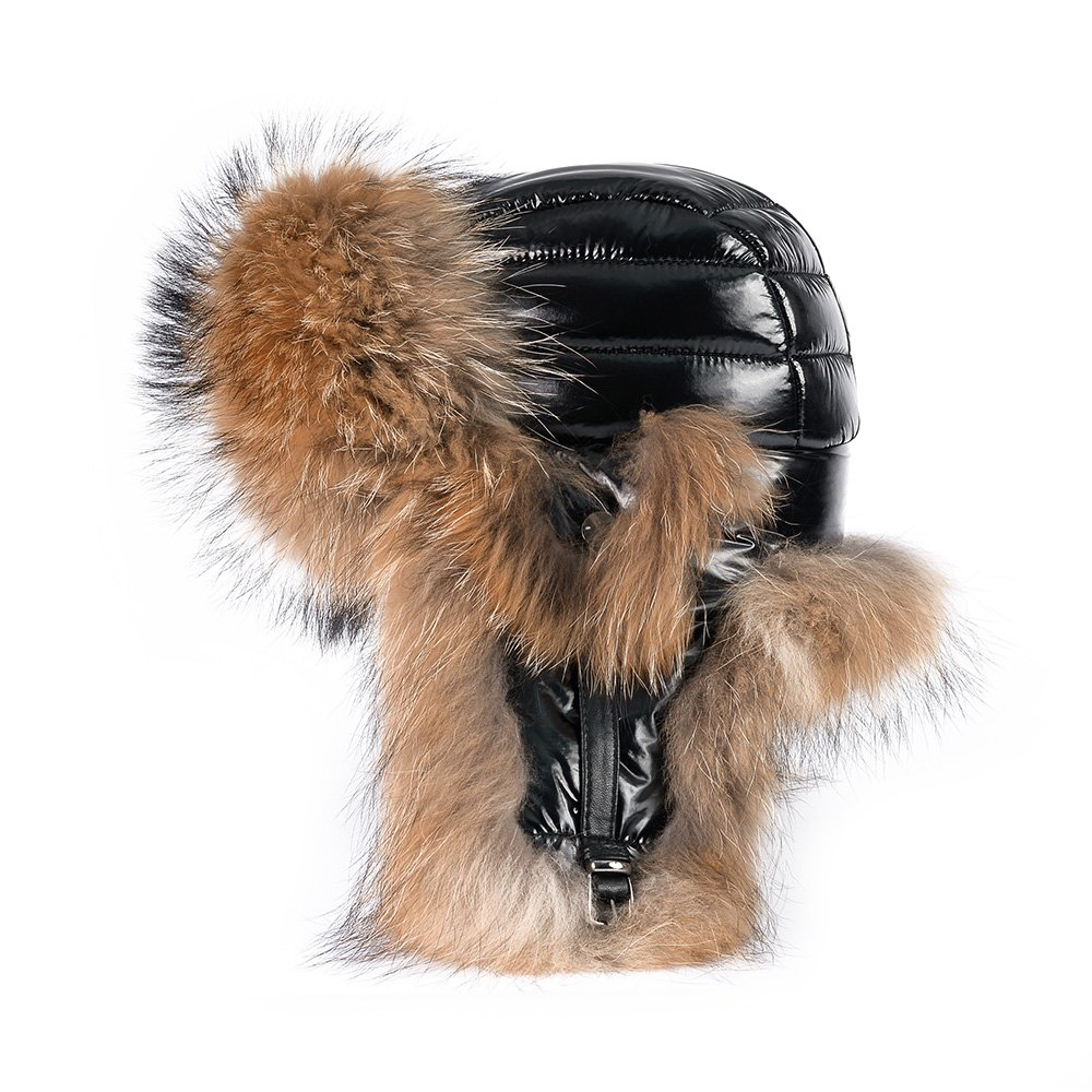 OrlovNY Women's Real Fox Fur Hats Earmuffs Warm Winter Hats In Black by OrlovNY
