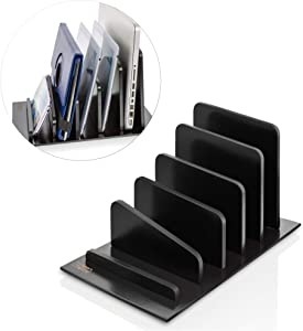 Prosumer's Choice Bamboo 5 Device Tablet Smartphone Rack and Desktop Organizer Holder for File Folders Magazines - Black