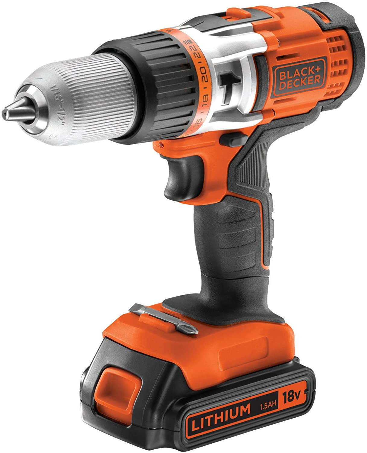 BLACK+DECKER EGBHP188BK-QW Perceuse à percussion sans fil, 18V, Noir, Orange, 2 Batteries