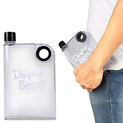 5bb500b244 ZIZLY Notebook Portable Cup Ultra Slim Water Bottle, H2O Plastic Water  Bottle, A5 Memo Notebook Bottle, 380 Ml, Clear,: Amazon.in: Home & Kitchen