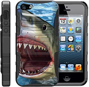 TurtleArmor | Compatible with Apple iPhone SE Case | iPhone 5/5s Case [Hyper Shock] Hybrid Rugged Kickstand Clip Holster Hard Impact Silicone Sea Ocean Beach - Shark Attack