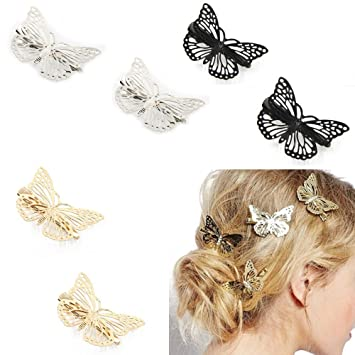 Women/'s Girls Hairpin Butterfly Hair Comb Gold or Silver