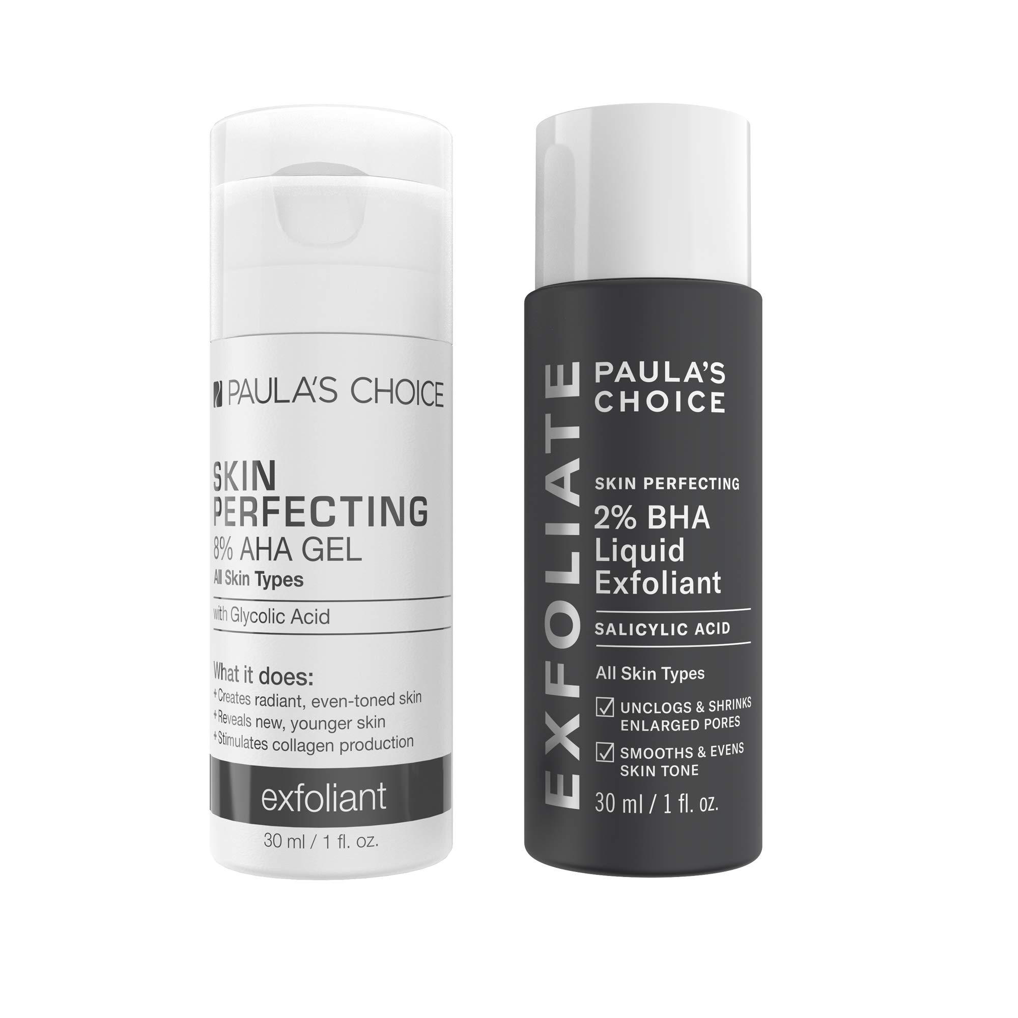 Paula's Choice-SKIN PERFECTING 8% AHA Gel Exfoliant & 2% BHA Liquid Travel Duo-Facial Exfoliants for Blackheads Enlarged Pores Wrinkles and Fine Lines Face Exfoliators w/Glycolic Acid Salicylic Acid