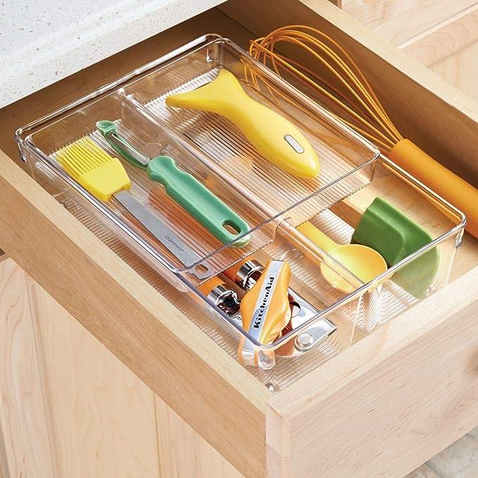 mDesign Cubertero doble para cajones de cocina – Bandeja para cubiertos con 4 compartimentos – Ideal para espumaderas, cucharones y utensilios de ...