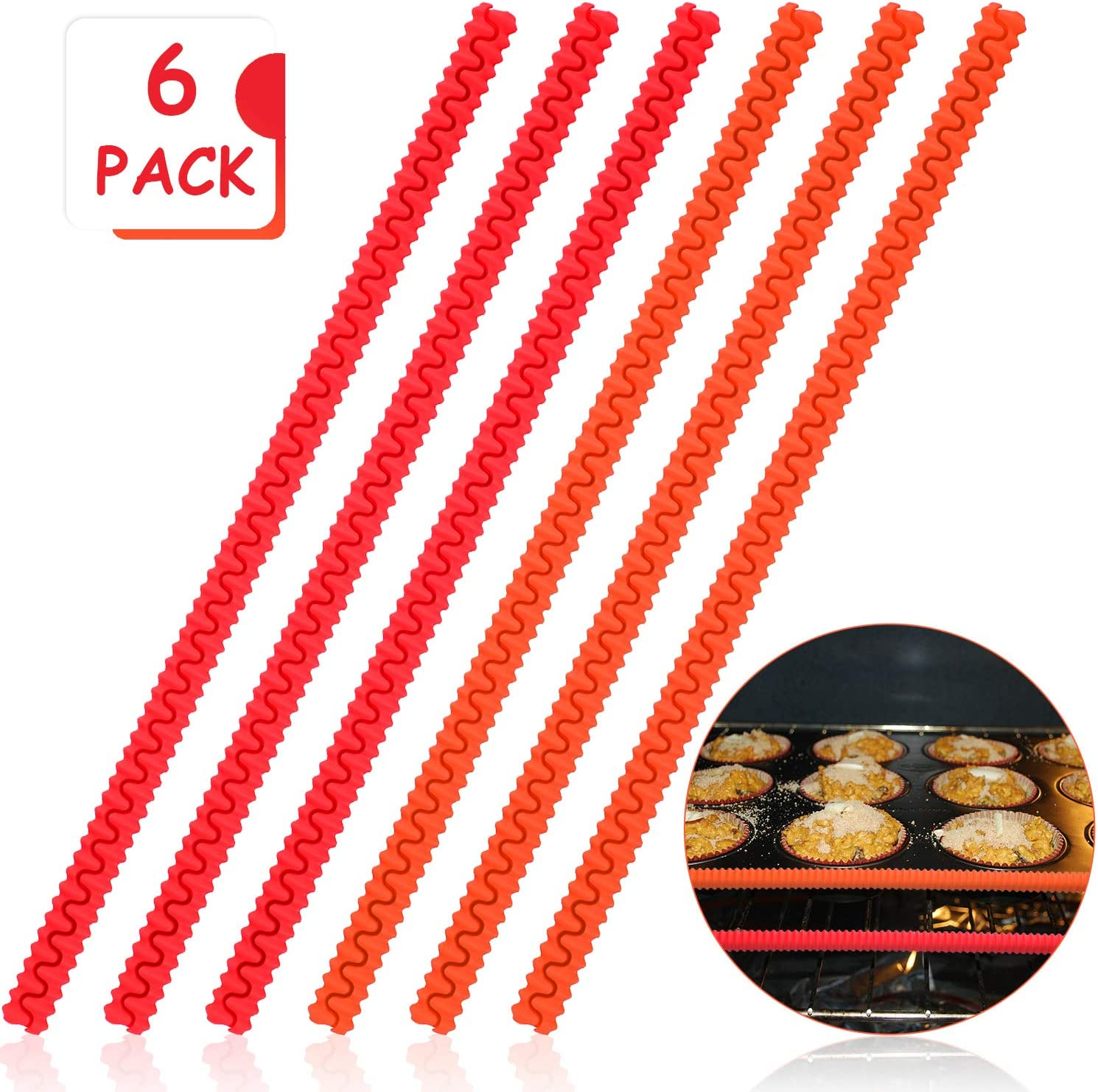 6 Pieces Oven Rack Shields Oven Edge Cover 14 Inch Long Heat Resistant Silicone Shield Oven Rack Edge Protectors, Protect Against Burns and Scars (Red and Orange)