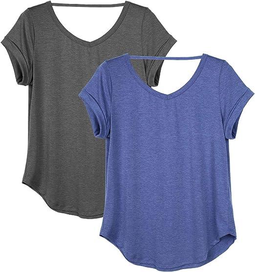 icyzone Damen R/ückenfrei Sport Yoga T-Shirts Fitness Kurzarm Oberteil Tops Loose Fit 2er Pack