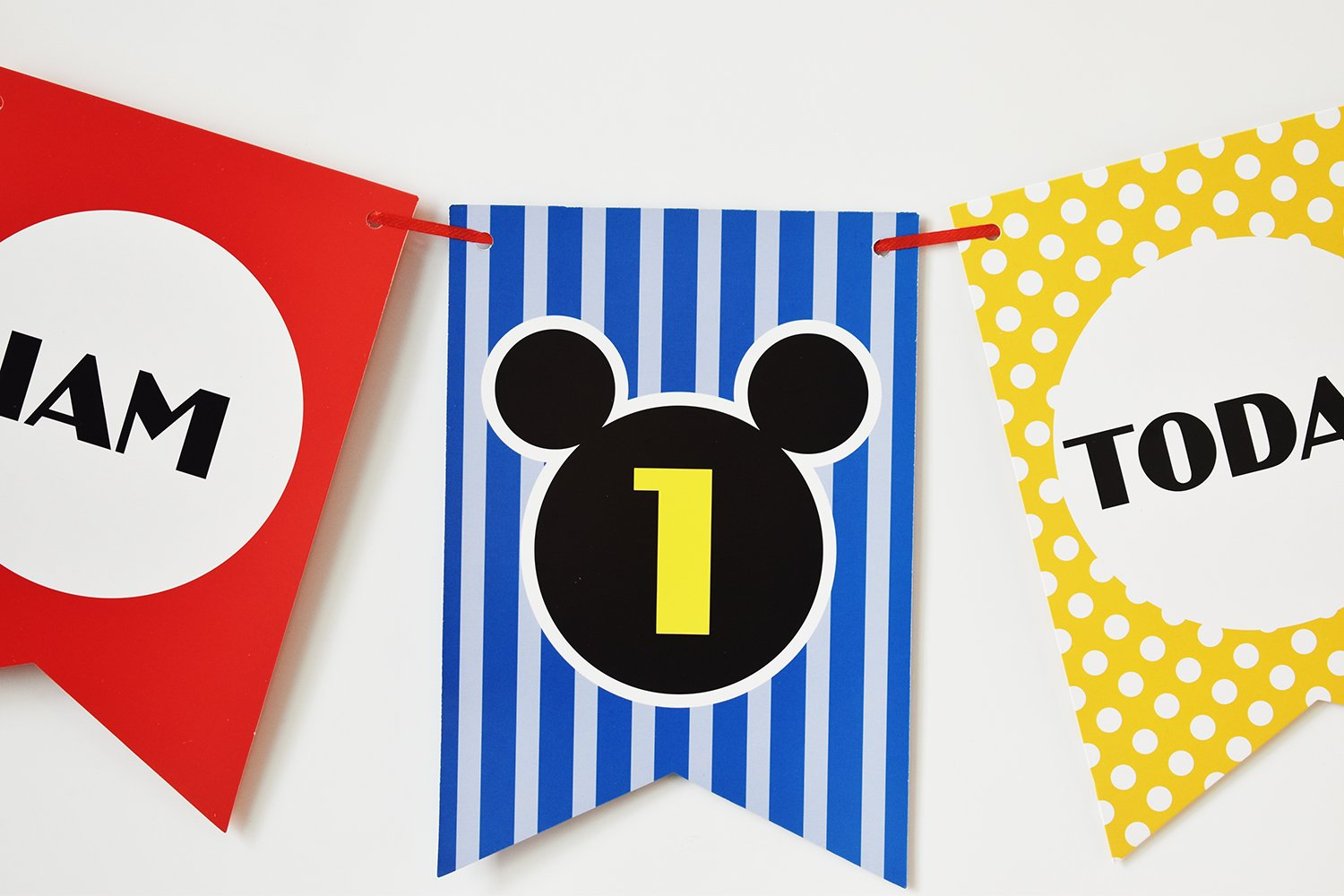 Brcohco Im 1 Today Cute High Chair Banner 1st Birthday for Baby First Birthday Party Decoration Supplies(Red,Blue,Yellow