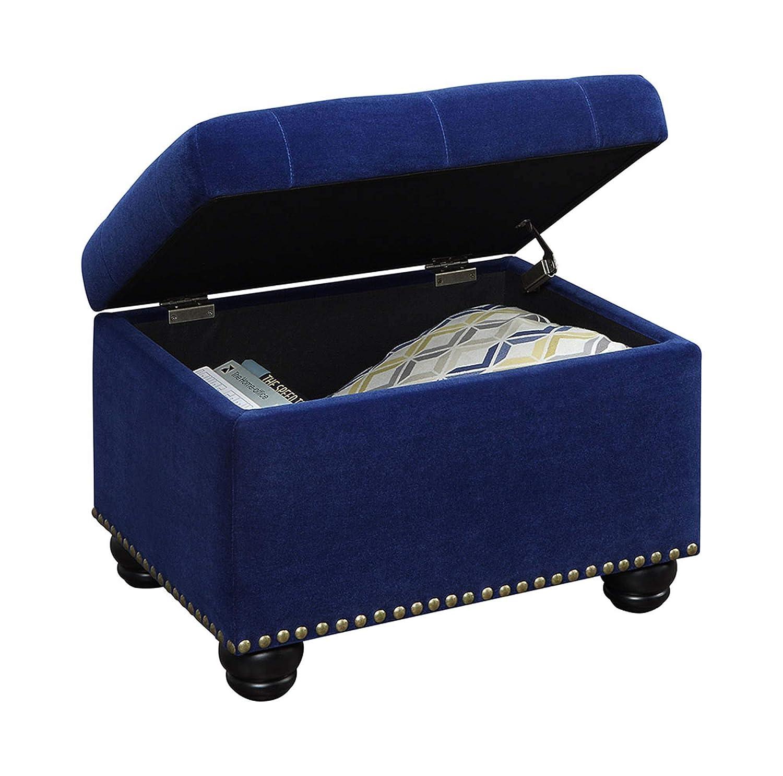 Convenience Concepts 163010FVBE Designs4Comfort 5th Avenue Storage Ottoman, Blue Velour,