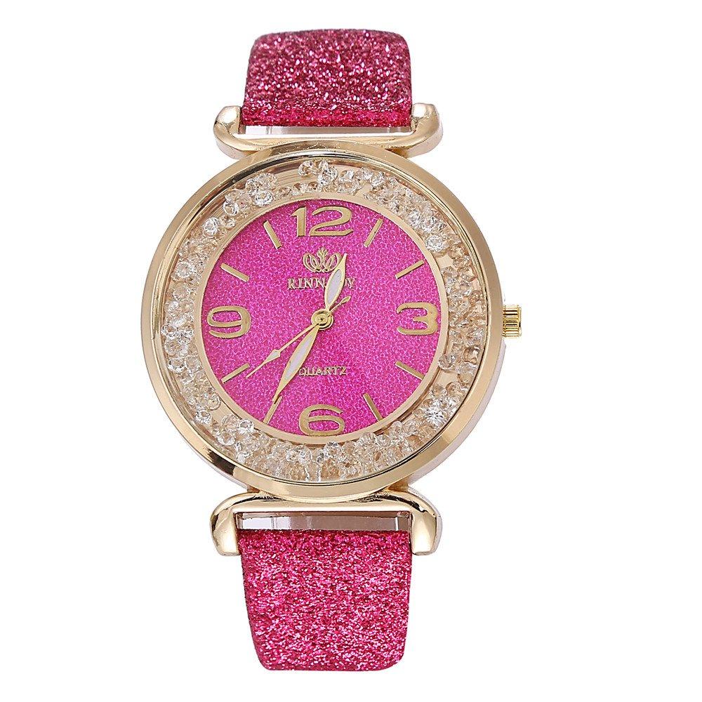 Montre-Bracelet à Quartz analogique en Acier Inoxydable en Cristal pour Femme LEEDY (Rose Vif): Amazon.fr: Montres