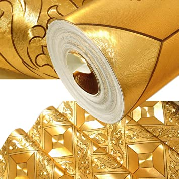 QIHANG Luxury Gold Foil Mosaic Square Lattice Background Flicker Wallpaper Leaf Modern Roll