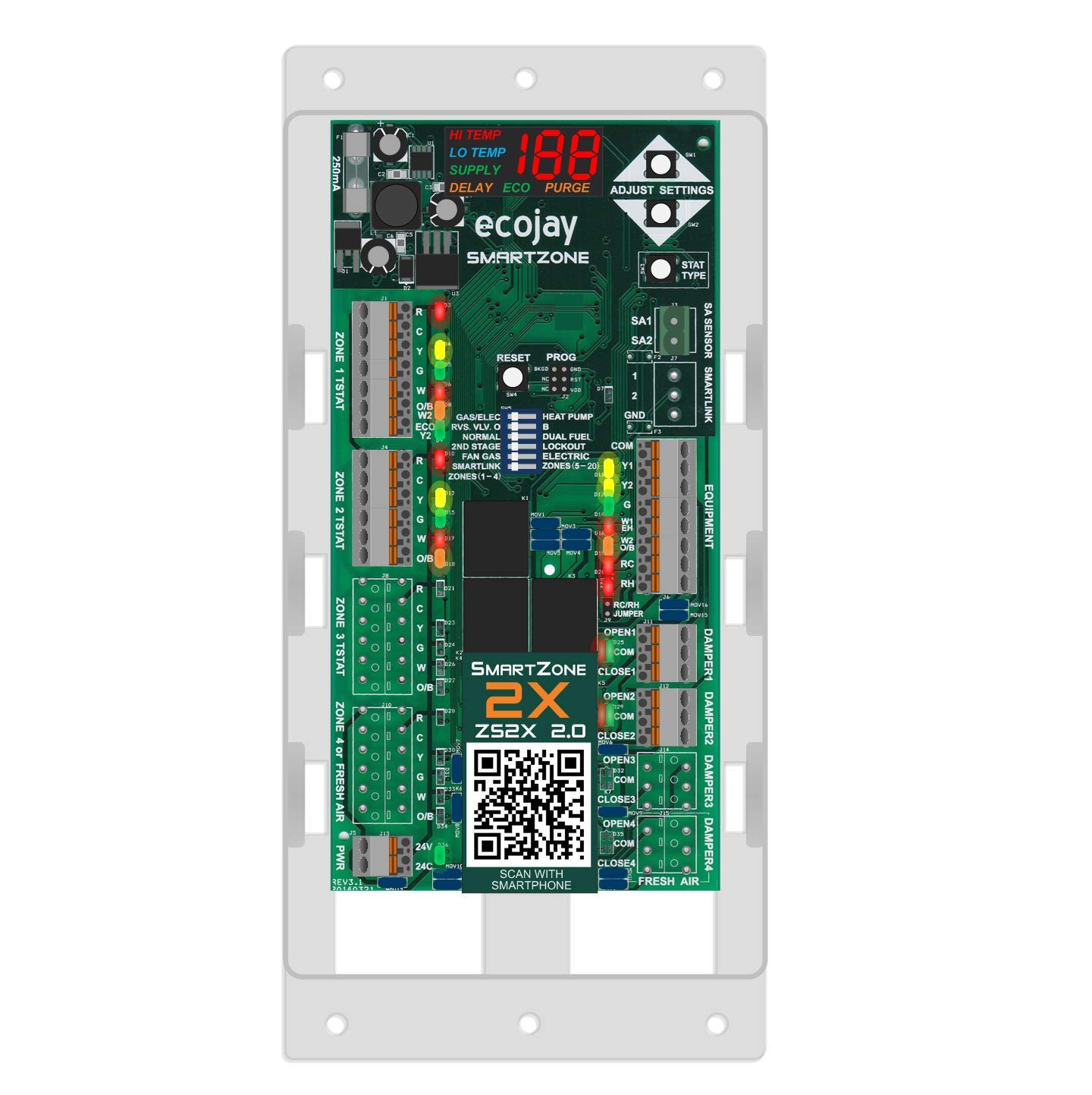 SmartZone-2X : 2 Zone HVAC Controller KIT w/Temp Sensor