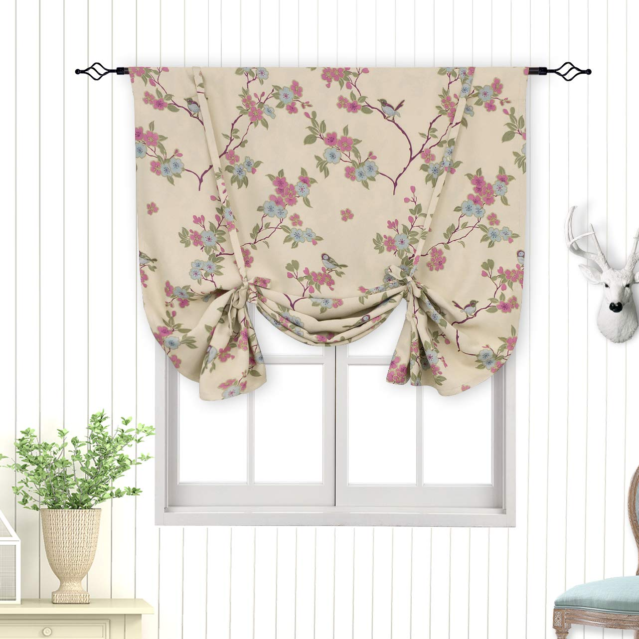BGment Tie Up Curtain, Rod Pocket Balloon Shades for Small Window, Thermal Insulated Printed Floral Bird Patterns Blackout Curtain for Bedroom, Single Panel, 42 x 63 Inch, Beige