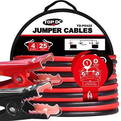 TOPDC Jumper Cables 4 Gauge 25 Feet Heavy Duty Booster Cables with Carry Bag (4AWG x 25Ft): Automotive