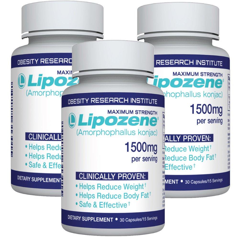Lipozene Diet Pills - Weight Loss Supplement - Appetite Suppressant and Control - Three Bottles 90 Capsules Total - No Stimulants No Jitters by Lipozene