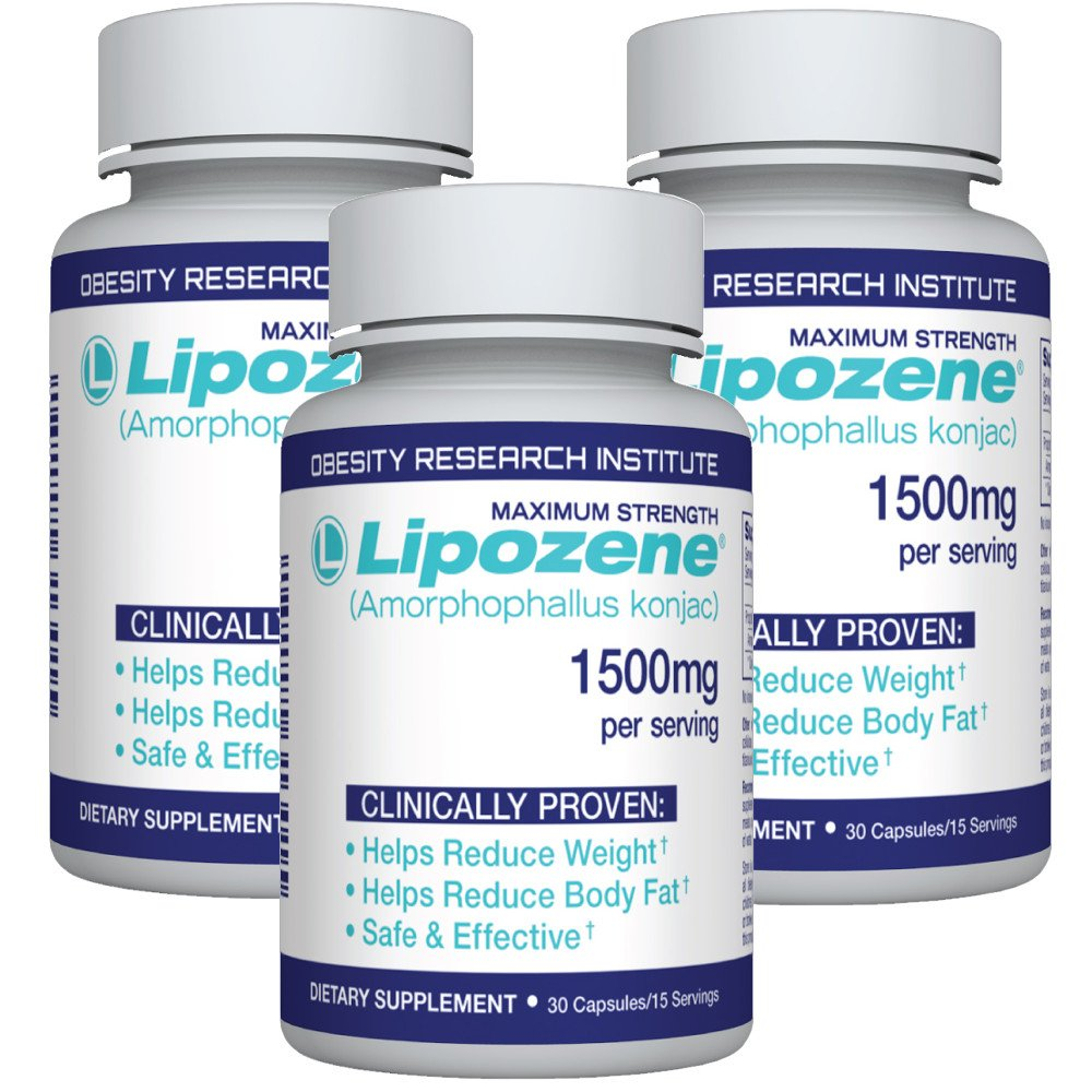 Lipozene Diet Pills - Weight Loss Supplement - Appetite Suppressant and Control - Three Bottles 90 Capsules Total - No Stimulants No Jitters