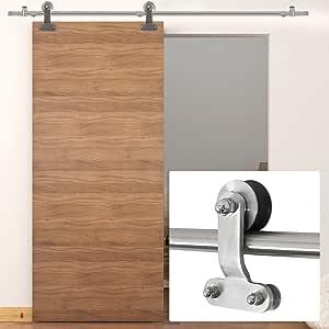 belleze 6.6 ft moderno interior puerta corrediza de granero madera Hardware de pista solo, acero inoxidable: Amazon.es: Bricolaje y herramientas
