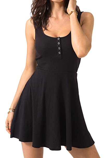 Chifave Women s Casual Sleeveless High Waist Slim Fit Flare Skater Mini  Tank Dress(Black S 0afa611f8