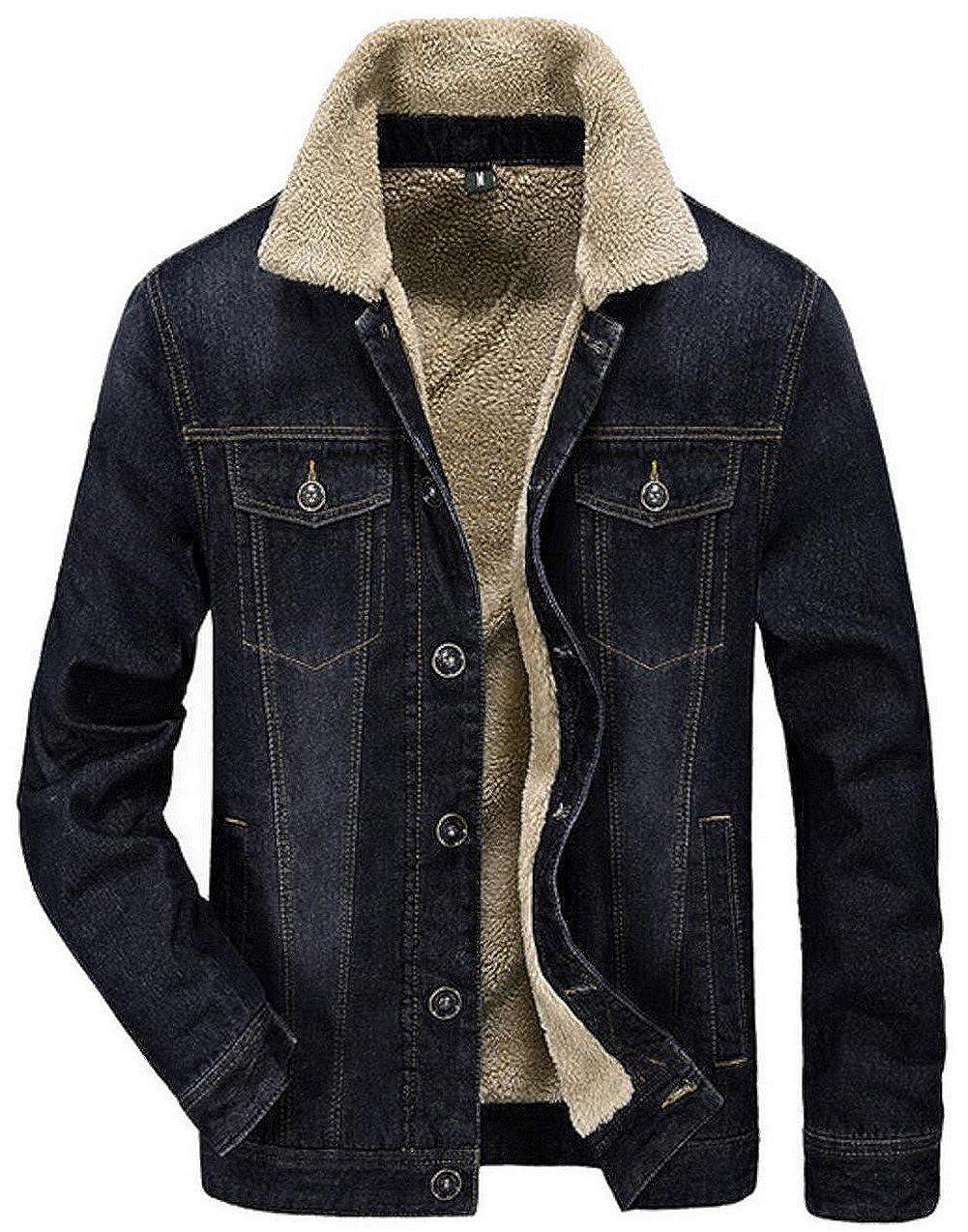 JIAX Men's Winter Warm Fashion Casual Trucker Denim Jacket Faux Shearling Coat