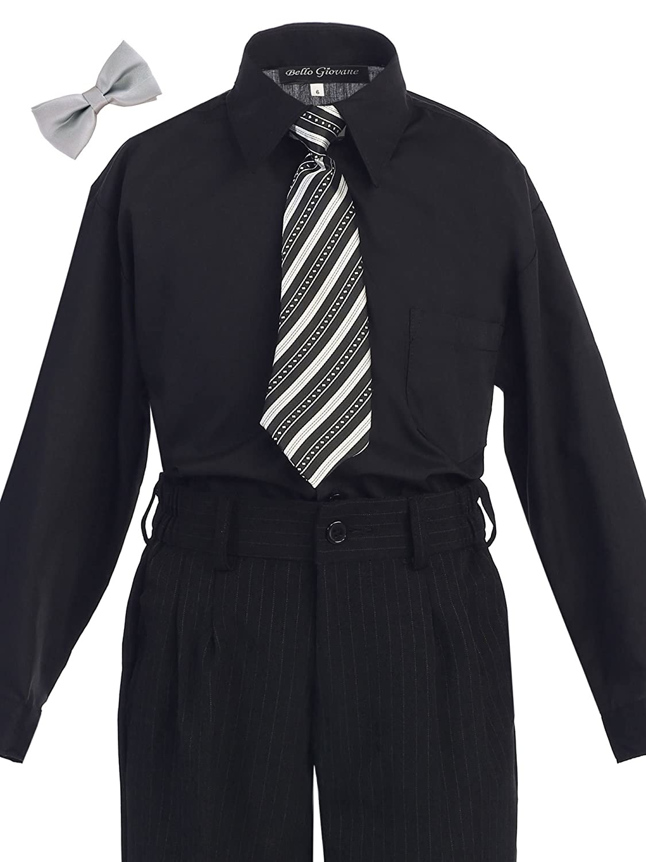 Bello Giovane Boys Black Dress Shirt with Tie Set (Free Silver Bow Tie)