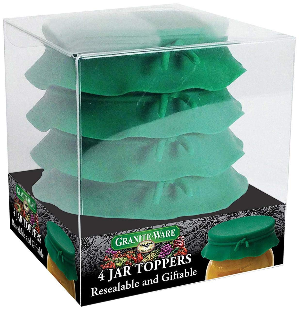 GraniteWare Wide Mouth Green Jar Toppers 4 Pack, (Set of 1) by Granite Ware