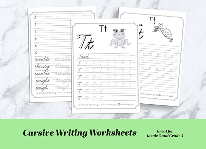 "This Digital Workbook ""Cursive Writing Practice For Kids"" Is Perfect For  Grade 3 And Grade 4 To Learn To Write Letters And Words In Cursive. There  Are More Than 100 Exercise Sheets To Help Your Child To Learn How To  Handwrite ABC And Sight Words Beautifully"