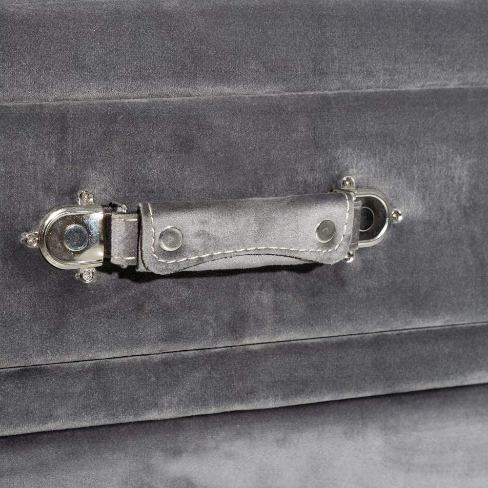 Mesilla de Noche tapizada Vintage Gris de Terciopelo de 53x34x46 cm LOLAhome