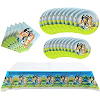 Bingo Bluey Birthday Party Supplies Pack Includes 20 Plates and 20 Napkins, and 1 tablecloth Bingo Bluey Birthday Party…