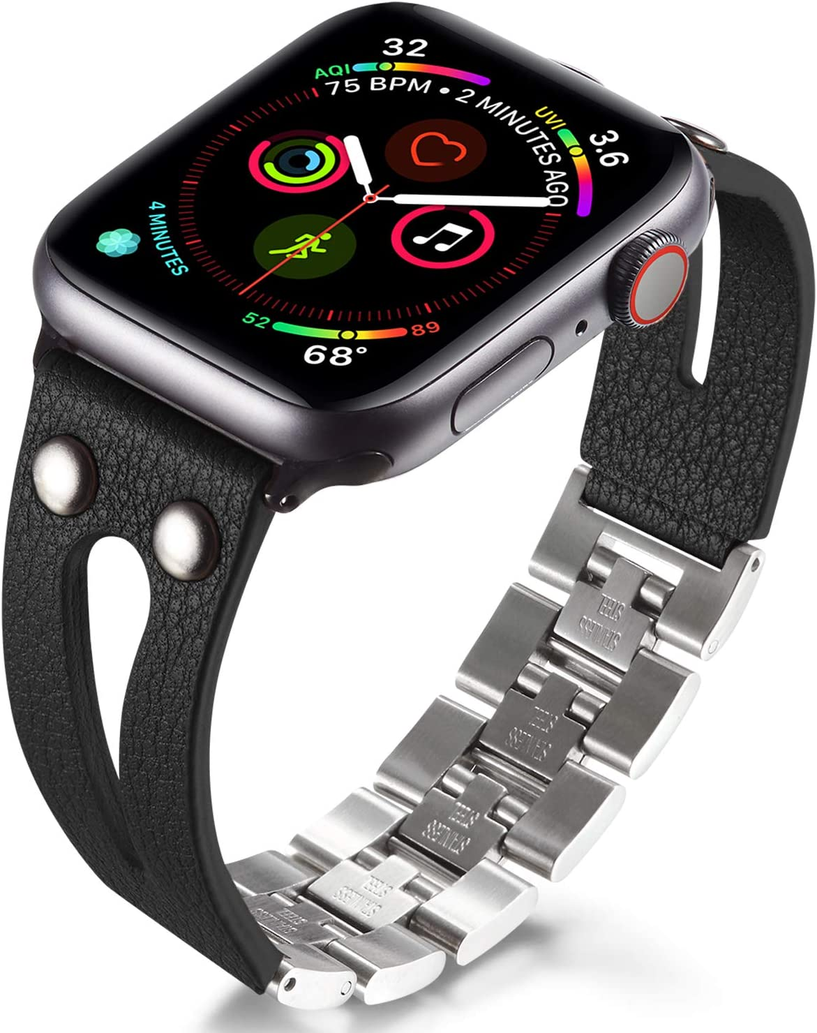 Handmade Craft Band Compatible with Apple Watch Band All Series, Simple Bracelet Braided Leather Bands, Stainless Steel Qucik Release, Handmade Replacement Women (42mm/44mm for Series 12345, Black)