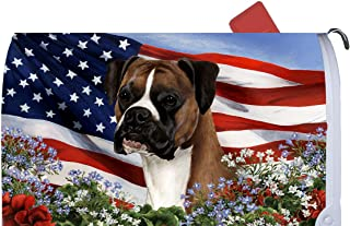 Best of Breed Boxer Fawn Uncropped Patriotic I Dog Breed Mail Box Cover