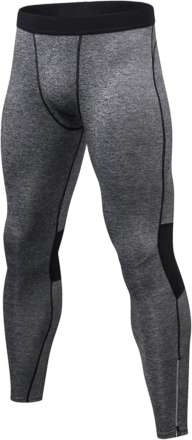 Mens Leggings Workout Tights Compression Pants with Pockets for Men Exercise Running Gym Fitness Base Layers