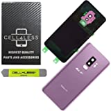 CELL4LESS Compatible Back Glass Cover Back Door w/Pre-Installed Camera Lens - Adhesive-Removal Tool- Camera Lens for Samsung