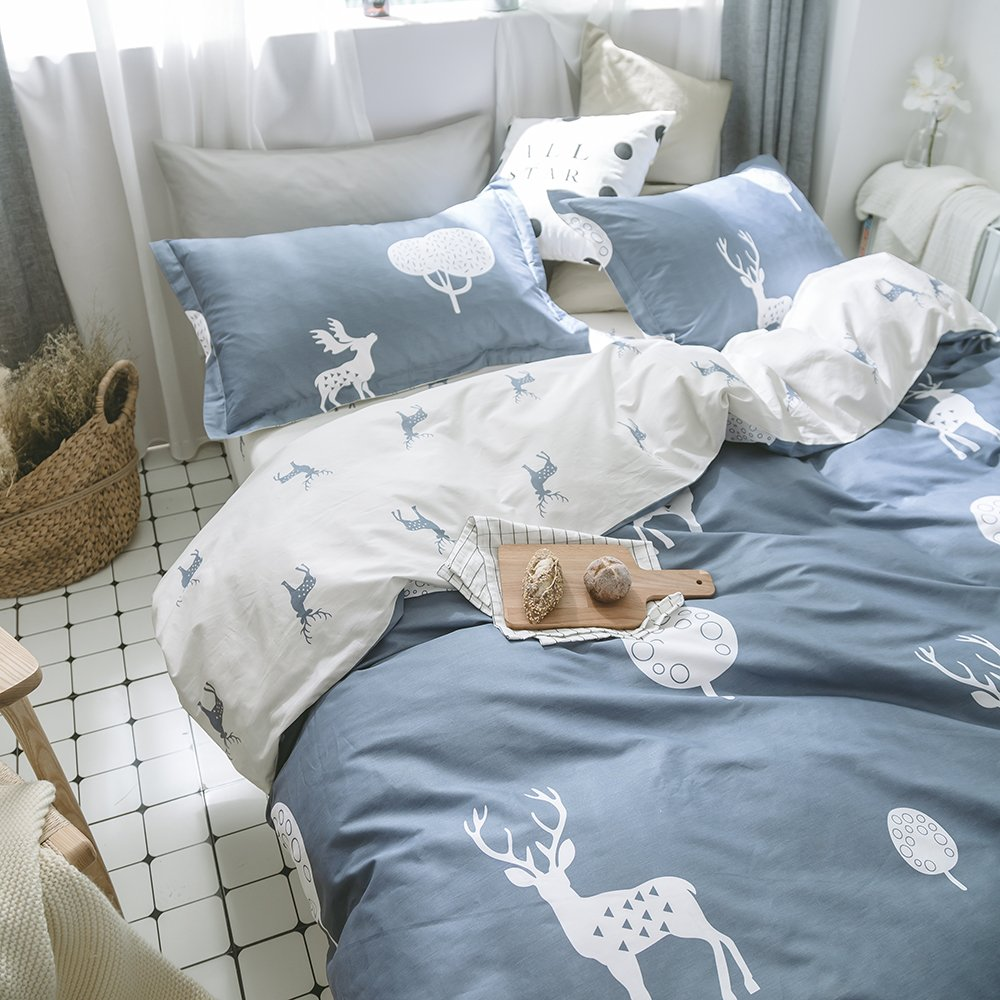 1 deer Twin mixinni Luxury Bedding 3 Pieces bluee Grey Duvet Cover Set King Triangle Pattern Reversible Design with 100% Soft Cotton, Breathable Hypoallergenic Durable with Zipper Ties