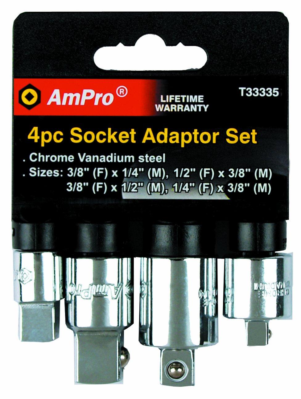 AMPRO T33335 Socket Adaptor Set, 4-Piece