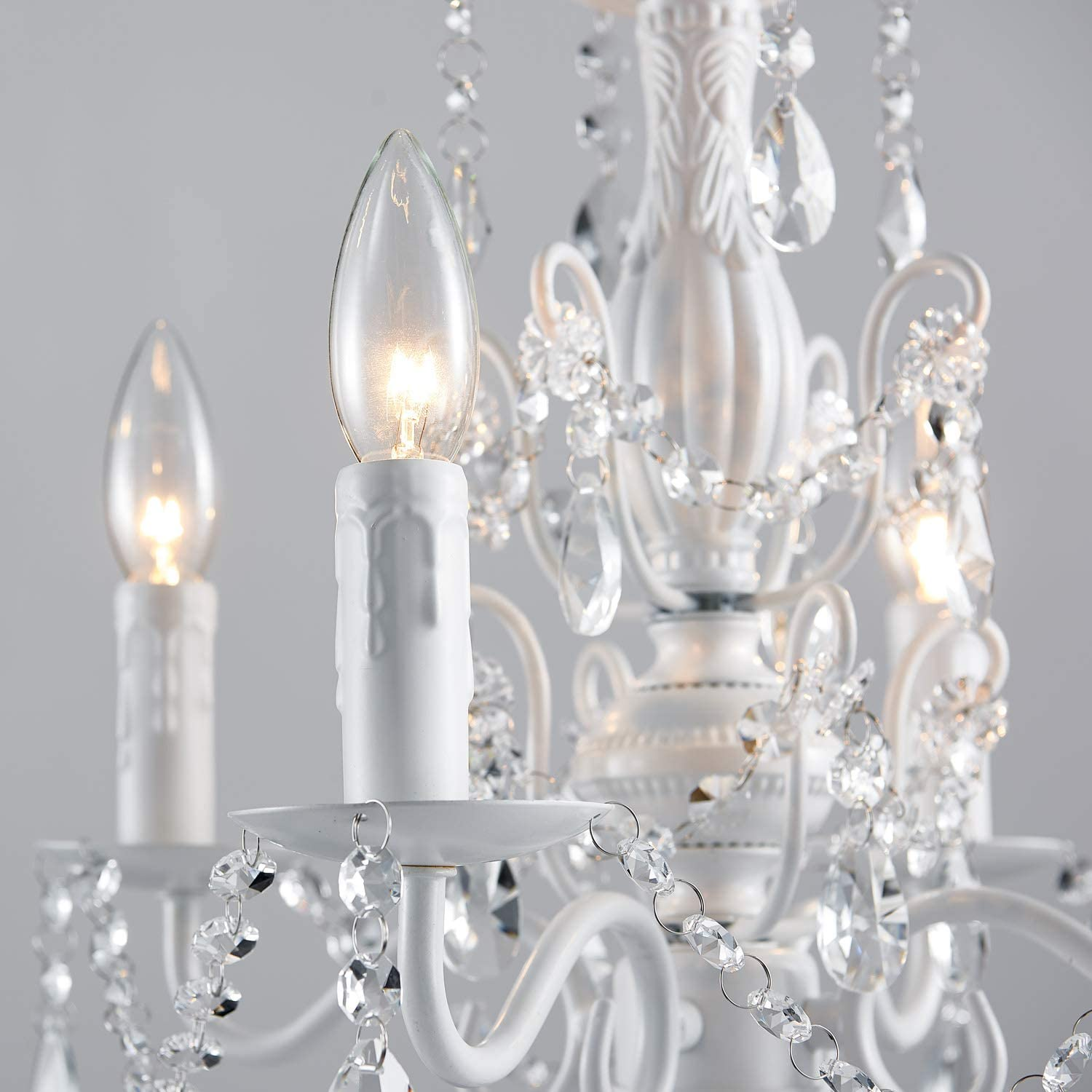 Saint Mossi Crystal Chandelier with 5 Lights,Modern LED Ceiling Light Fixture,Contemporary Pendant Lighting for Living Room,Bedroom,W15x H18