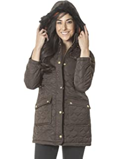 LOVE MY Fashions Womens Brave Soul 75D Onion Quilt Parka Coat Faux Fur Trimmed Hood Polyester Jacket Size 8 12 14 16 Navy Blue