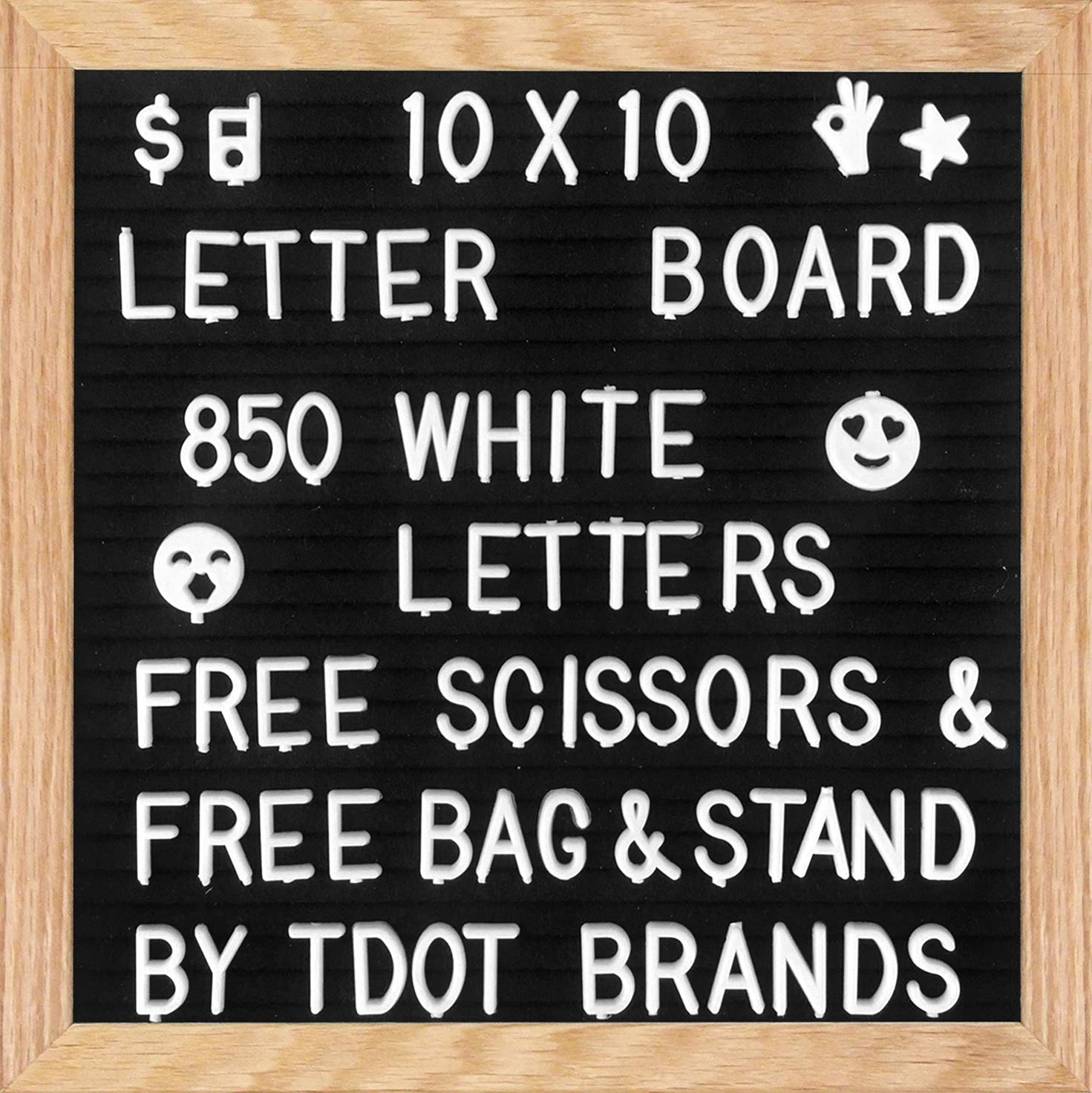 Letter Board - Felt Letter Board Changeable 10x10 Inches with 850 WHITE Letters, Numbers & Symbols, Wooden Message Board FRAME With Wooden STAND, FREE Canvas BAG & FREE Scissors, on BACK TO SCHOOL By Tdot Brands