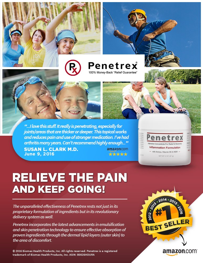 NEW :: Penetrex Pain Relief Cream (BUNDLE) :: Home & Travel Solution contains One LARGE (4 Oz.) & One Travel-Ready (TSA Approved 2 Oz. Size) for On-The-Go Relief.