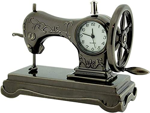 Miniature Old Fashioned Sewing Machine on Stand Novelty Desktop Collectors Clock