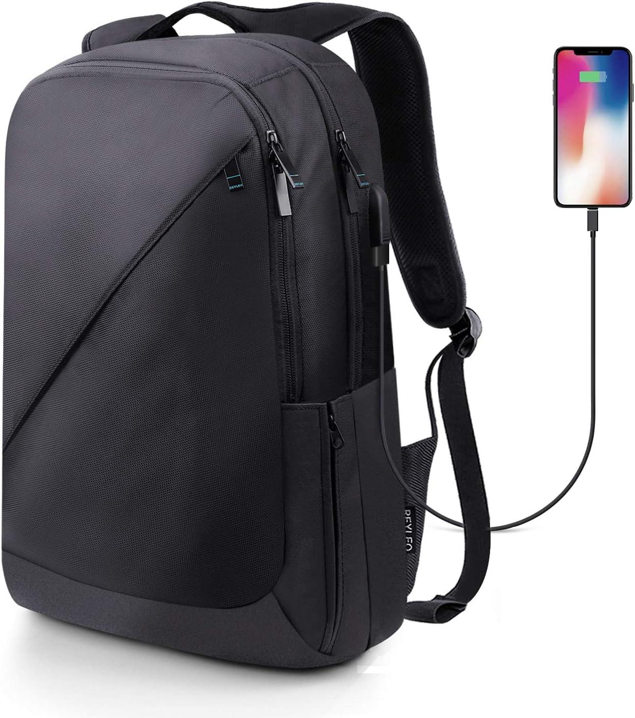 REYLEO Mochila de Portátil de Segunda Generación Hasta 15,6 Pulgadas Backpack Impermeable Para Ordenador del Negocio Trabajo Diario Viaje - 26L Negro RB01 PLUS