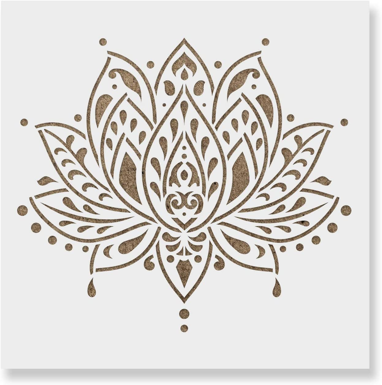 Flexible Stencil *LOTUS FLOWER* Design # 2 Pond Card Making Crafts 14cm x 14cm
