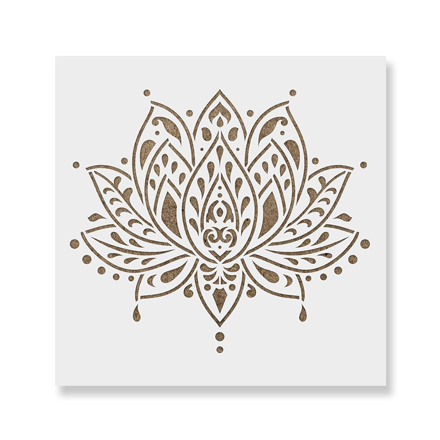 Sacred Lotus Flower Stencil Template for Walls and Crafts - Reusable Stencils for Painting in Small & Large Sizes Stencil Revolution 4336891148