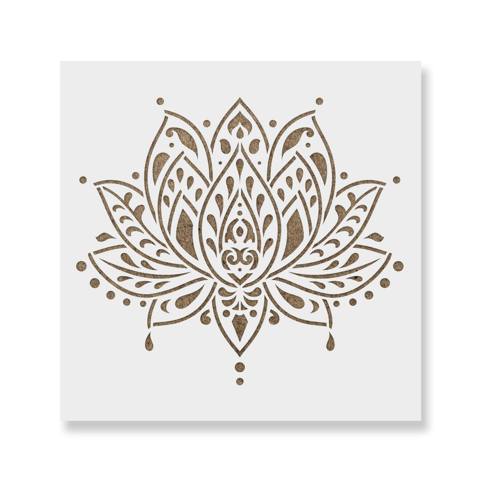 Sacred Lotus Flower Stencil Template for Walls and Crafts - Reusable Stencils for Painting in Small & Large Sizes by Stencil Revolution